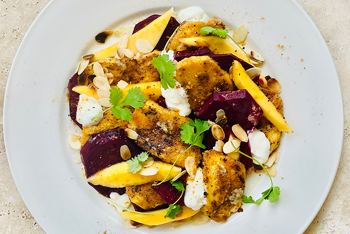 Spiced Halloumi Mango and Beetroot Salad